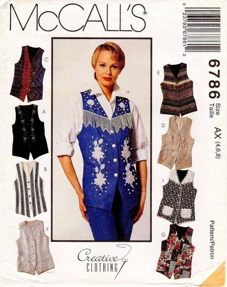 Misses Lined Vests McCall's Pattern 6786 Size 12,14,16