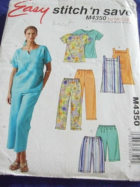McCall's Easy stitch' n save Misses Petite Top Pull-on Capri Pants & Shorts Patter M4350 Sizes (14161820)