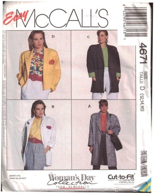 McCall's Misses Unlined Jacket Pattern M-4671 Size (20,22,24) Oversized VINTAGE 1980's