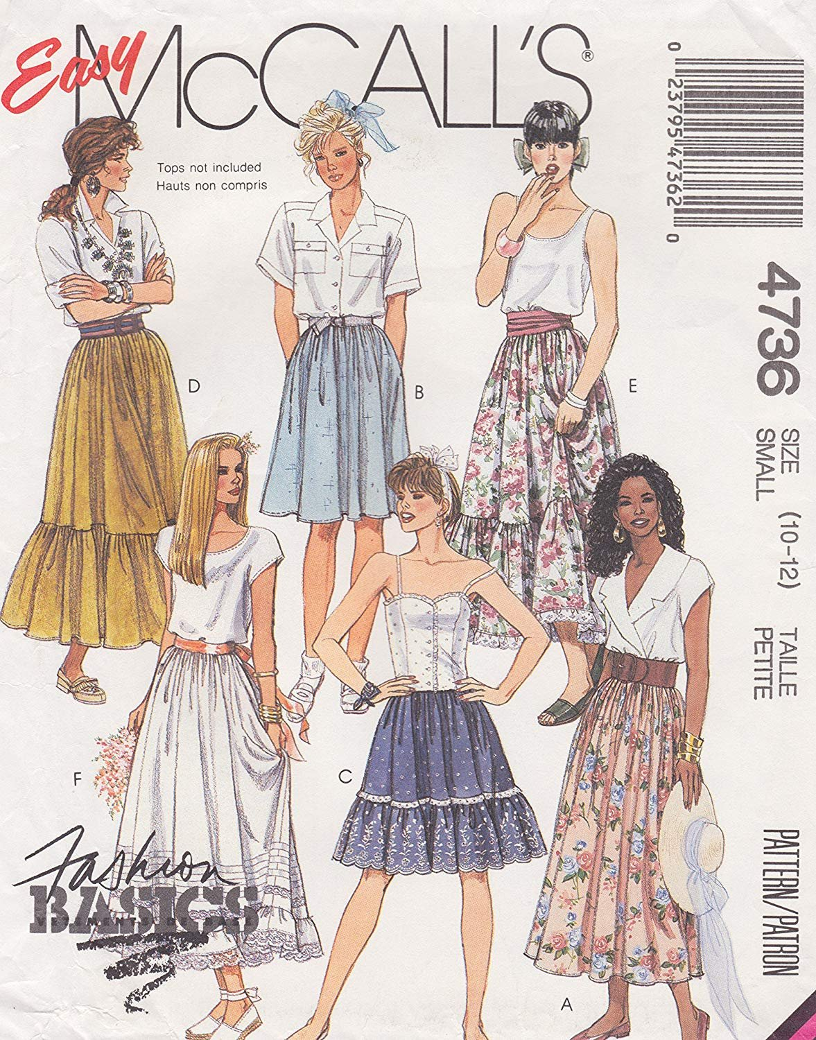 1990 Easy McCall's Shirt & Skirt Pattern M-4736 Size (10-12)