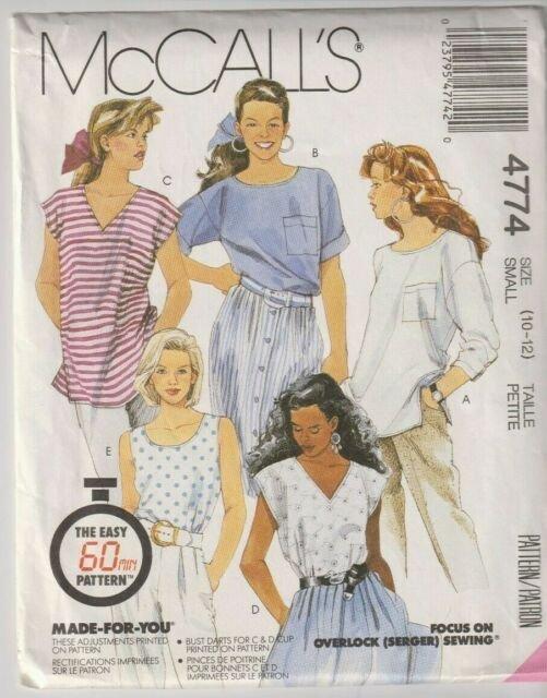 1990 McCall's 60 Min Pattern M-4774 Top Size (10-12)
