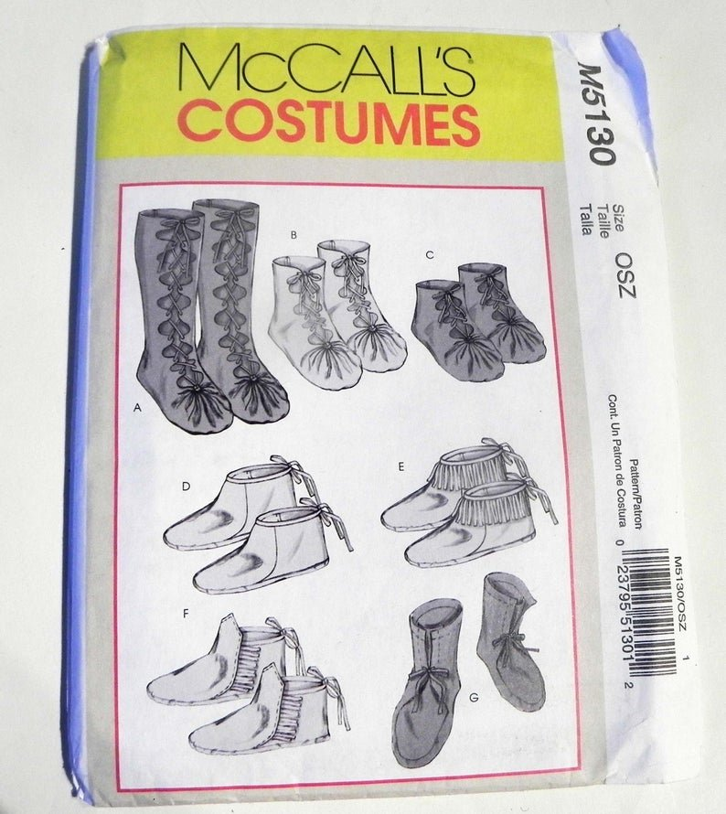 Primitive Moccasins Shoes Slippers tie lace up booties ankle calf costume cosplay sewing pattern McCalls 5130 UNCUT FF Historic
