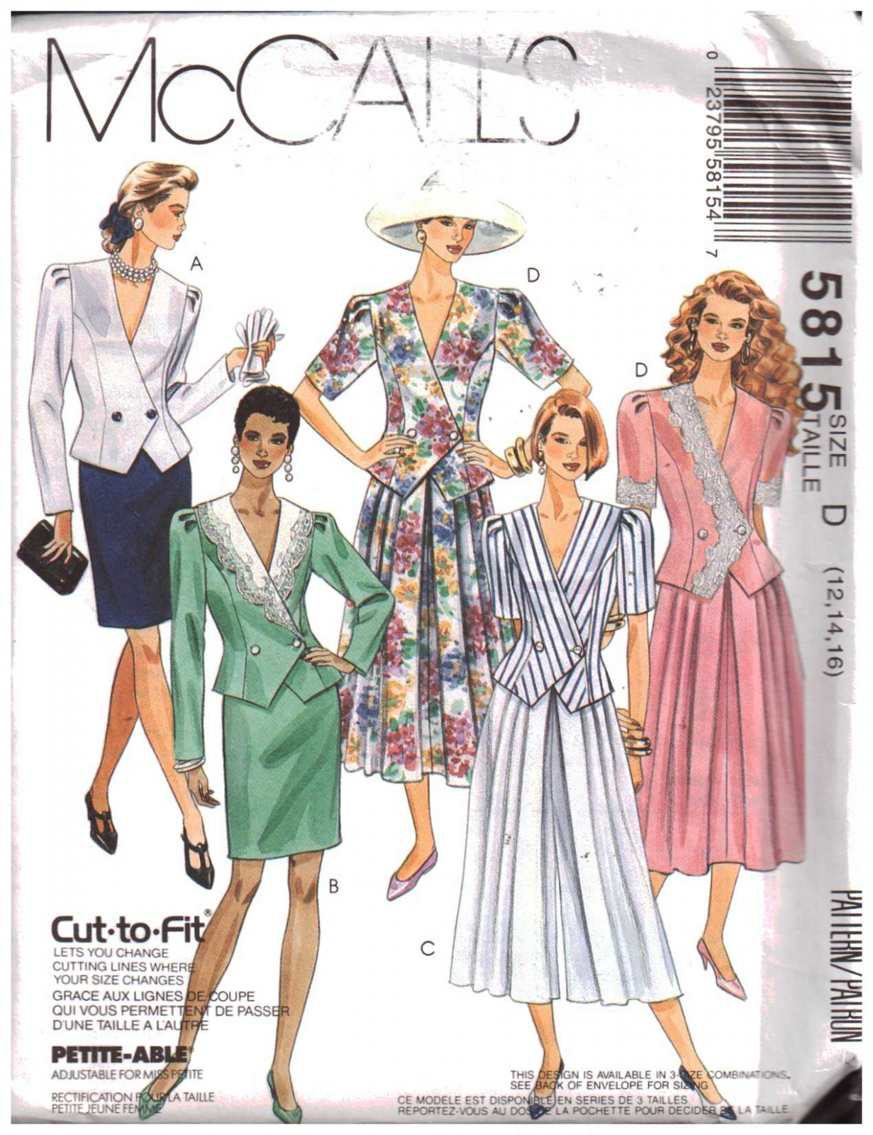 Misses Two-Piece Dress McCall's Pattern 5815 Size (161820)