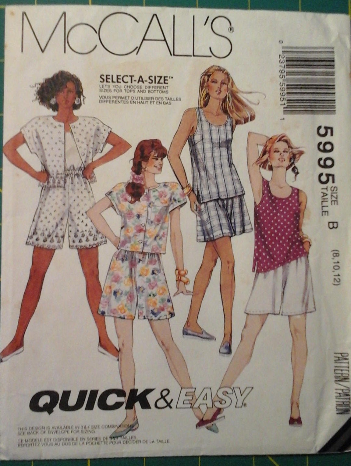 1992 Misses Top Tank Top and Shorts Pattern Size (8,10,12)