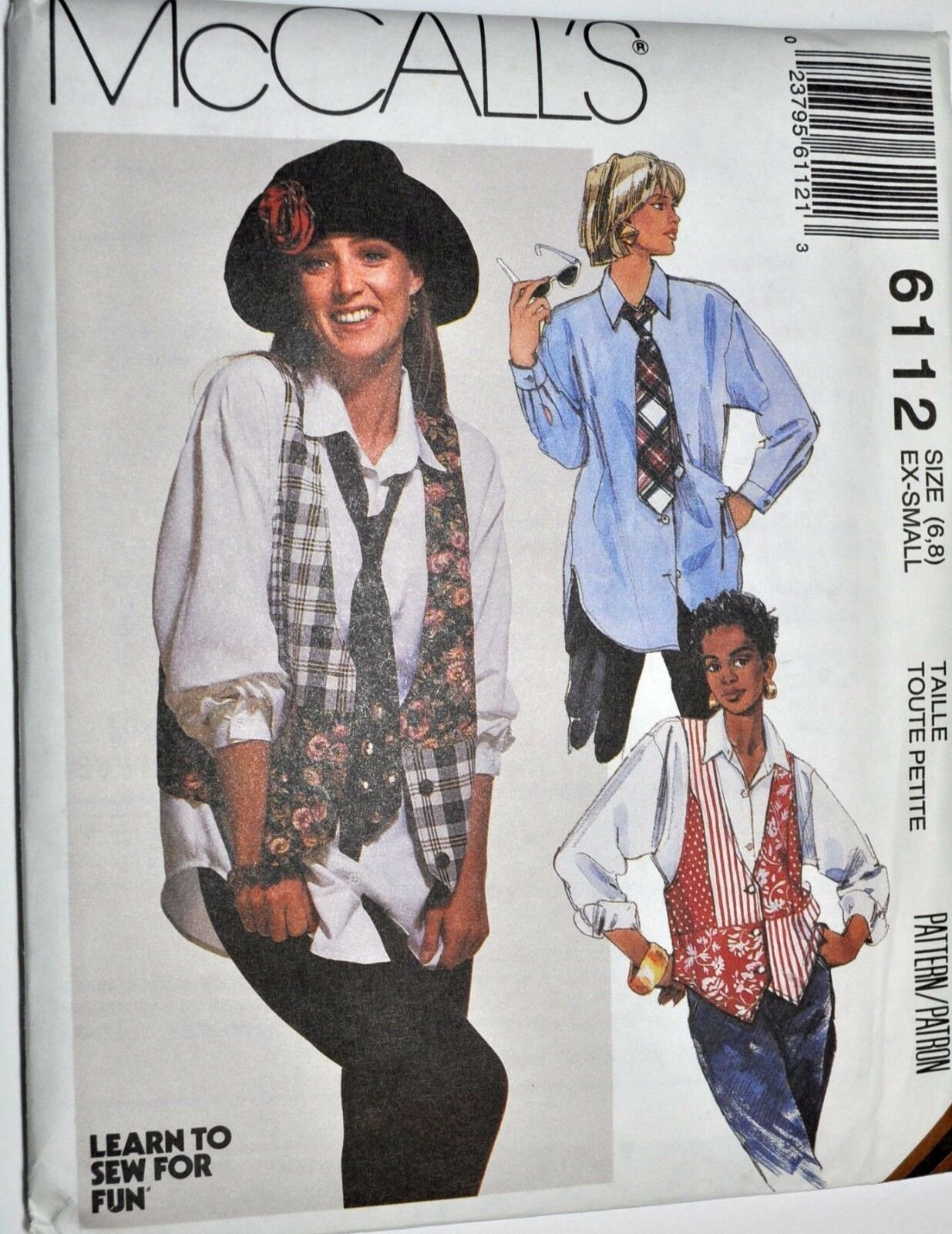 1992 Misses Shirt Vests and Necktie Pattern McCall's 6112 Size (10,12)