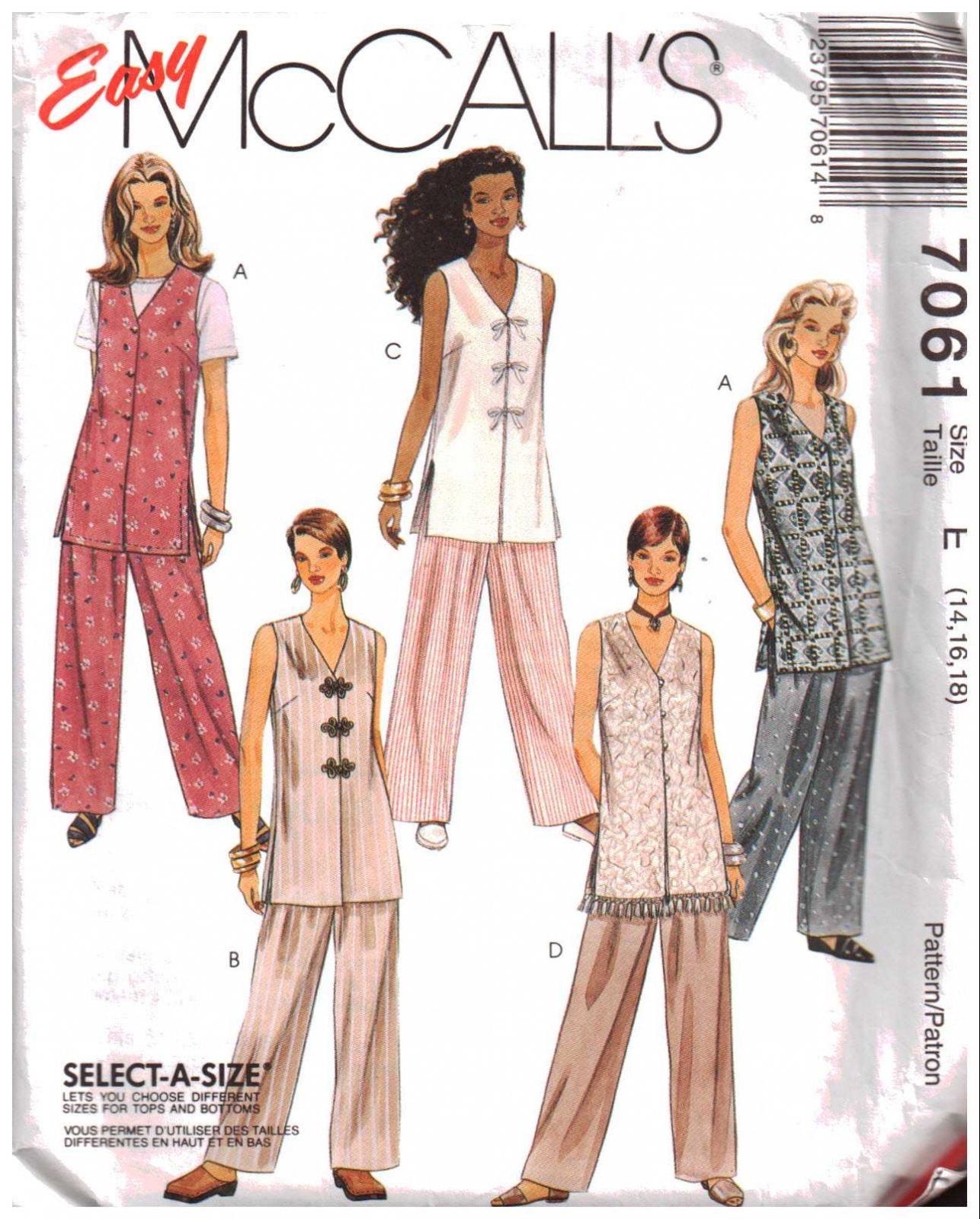 Misses Unlined Vest and Pants Vintage McCall's Pattern 7061 Size10,12,15