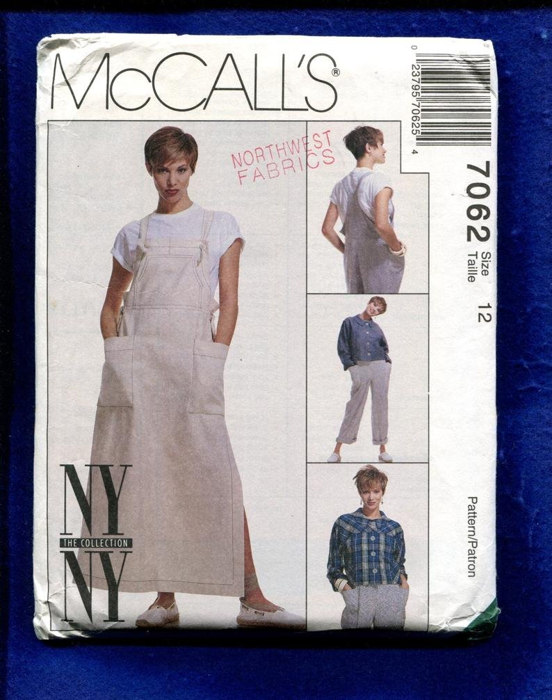 Misses Unlined Jacket, jumper, and overalls McCall's Pattern 7062 Size 10