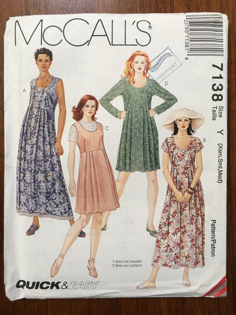 Misses Dress in two lengths McCall's Pattern 7138 Size X-Small Small Medium