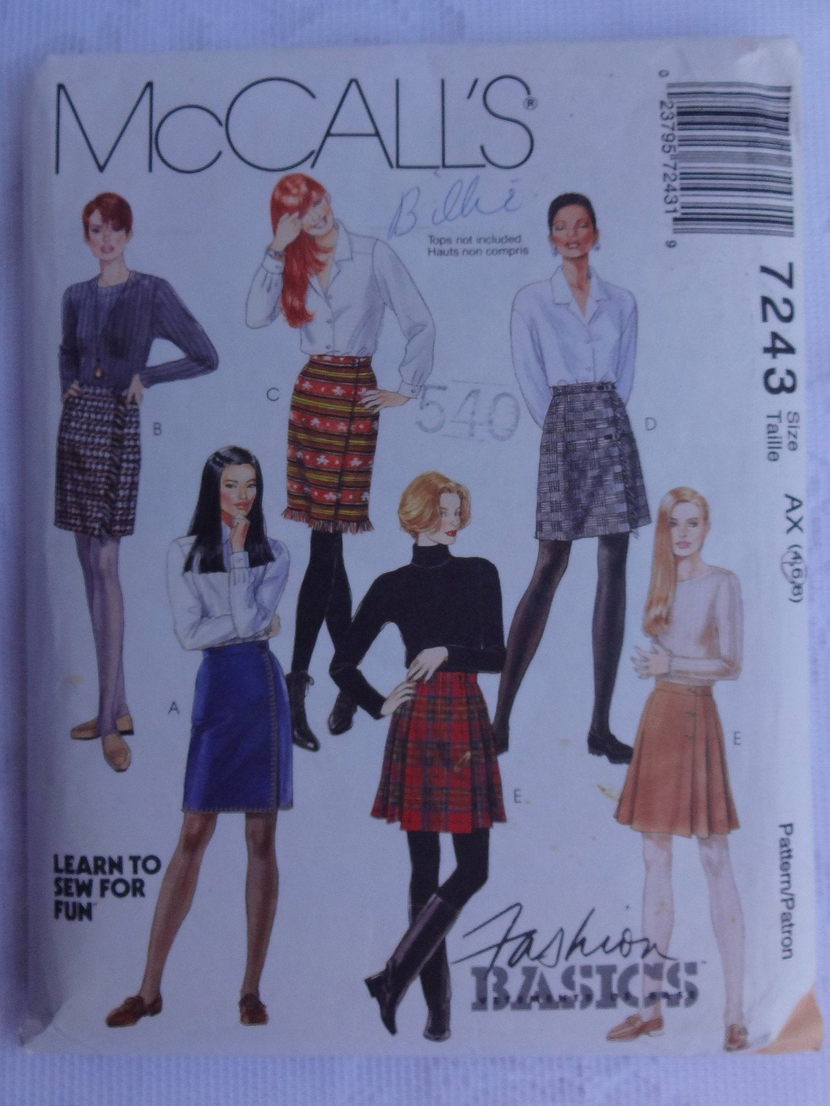 Misses Wrap Skirts McCall's Pattern Size 8,10,12