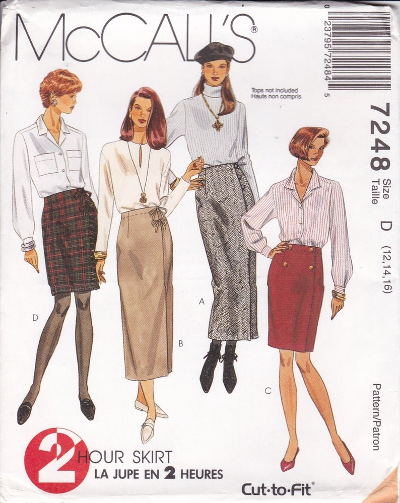 Misses Wrap skirt in two lengths McCall's Pattern 7248 Size 81012