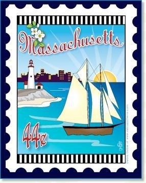 Custom State Stamp Collector Massachusetts 6 x 7