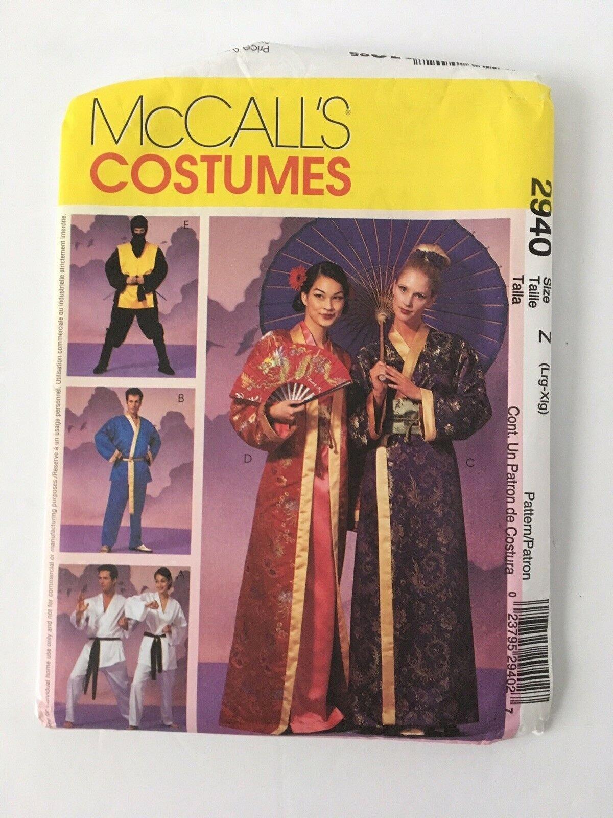 McCalls Misses Men Geisha Ninja Karate Kimono Costume Pattern 2940 Lg XL