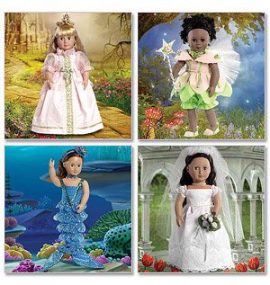 Sewing Pattern Dolls MCCALLS CRAFTS M6452 18 inch Doll Clothes Bride Princess Mermaid Fairy