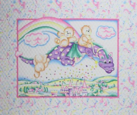 Three Bears and Purple Dragon Baby Panels. 35 X 44 100% COTTON