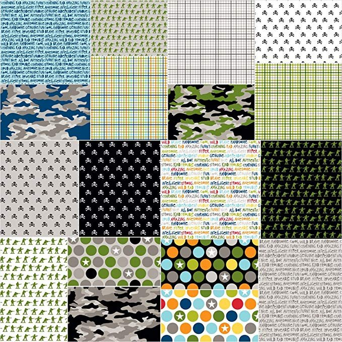 Fabric Cotton Military Max Collection 18 Fat Quarter Cuts by Riley Blake
