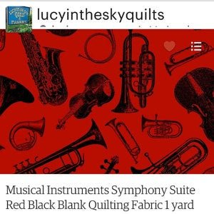 Musical Instruments Symphony Suite Red Black Blank Quilting Fabric