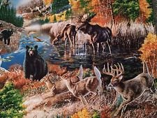 Fabric Cotton Quilting Treasures Nature's Glory Scenic Print Deer Bear Woods 23833-X James A. Meger Commemorative