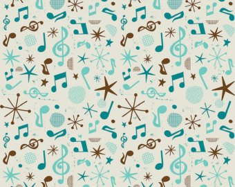 Fabric Cotton Musical Notes Brown and Teal by Michael Korfhage Folk Melody 44/45 100% Cotton