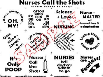 NURSES CALL THE SHOTS PRE-PRINTED PANEL BLACK INK on WHITE Block Party Studios