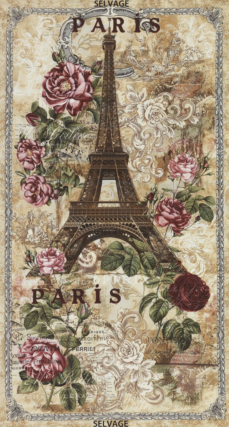 Fabric Cotton Panel Paris 24'' Panel  Eifel Tower Timeless Treasures