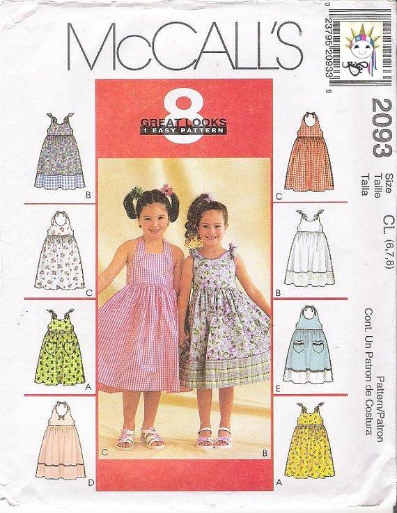 Sewing Pattern Girls Dress Halter Sundress McCalls 2093 Size CL 678