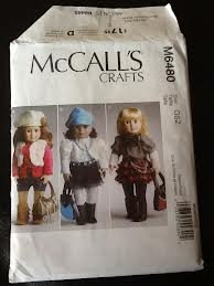 Pattern Doll Clothes 18 inch Clothes and Accessories McCall's Crafts 6480