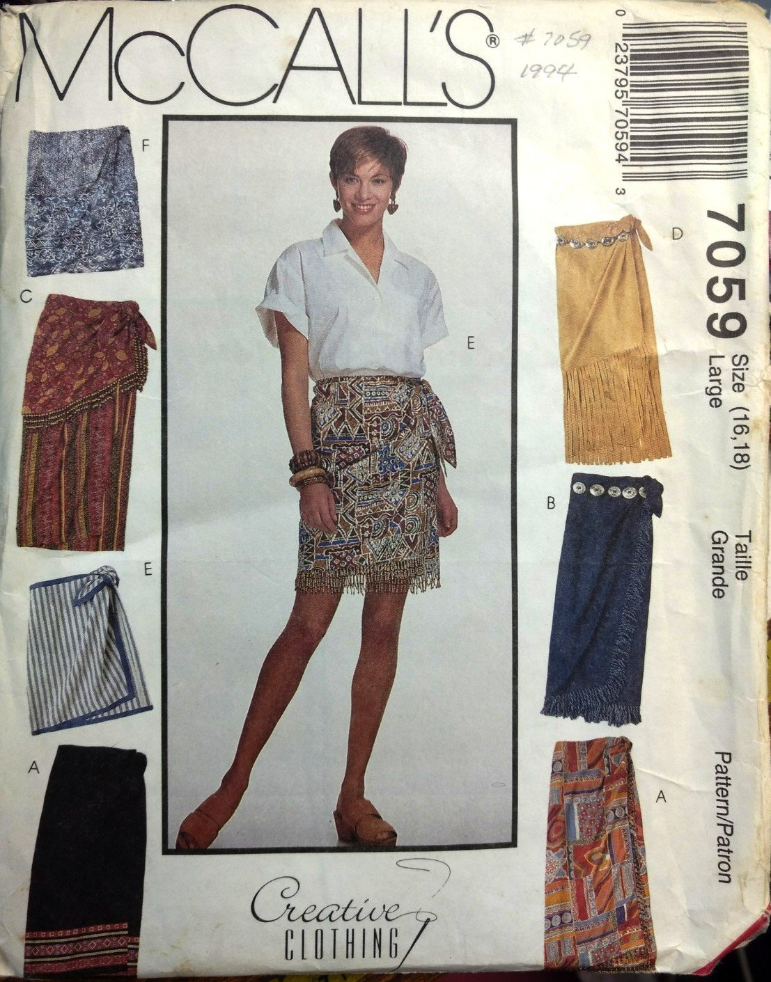 Sewing Pattern Misses Wrap Skirt McCall's 7059 in Two Lengths Size Large