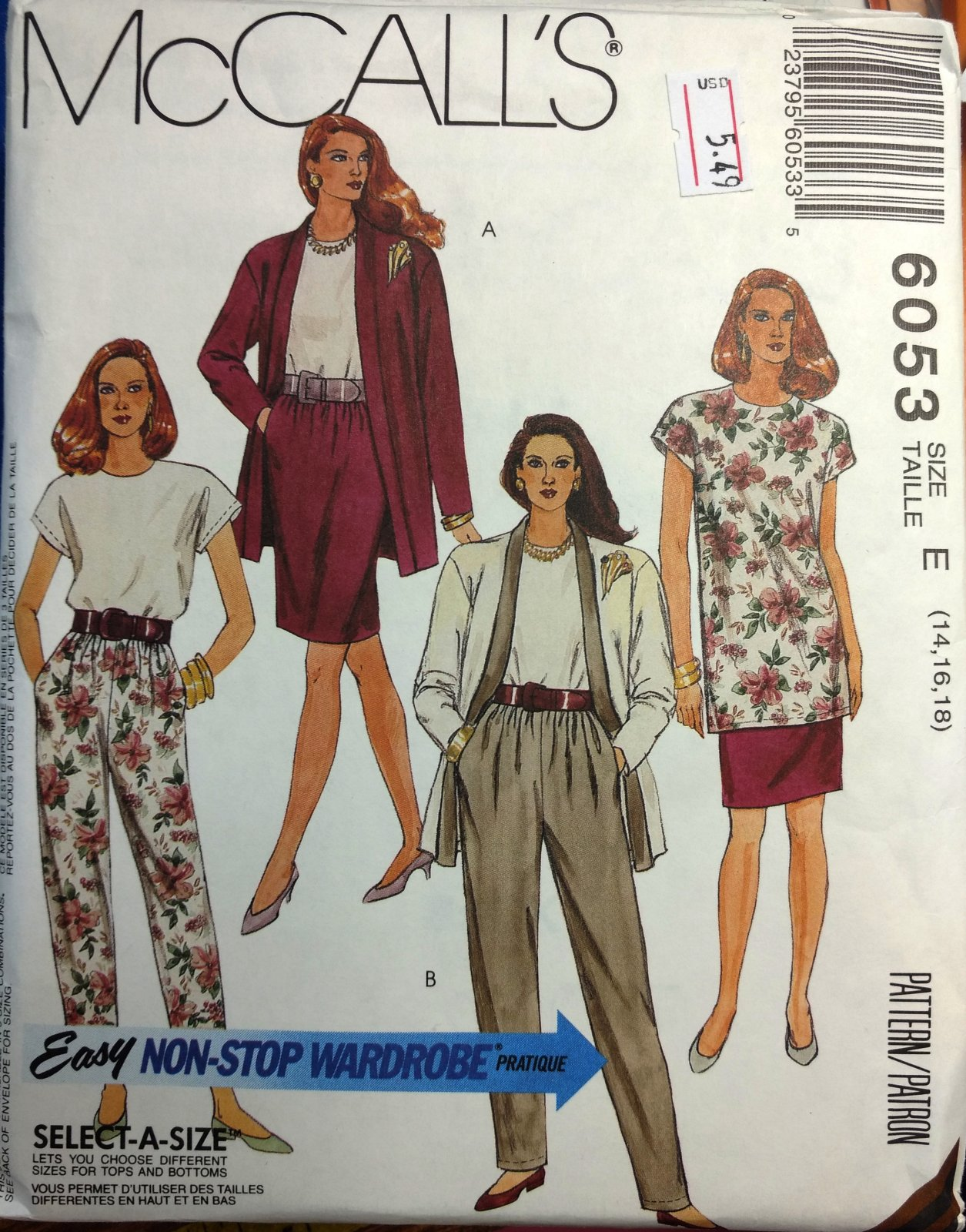 Sewing Pattern EASY NON STOP WARDROBE MISSES SUIT PATTERN McCall's 6053 SIZES 14-16-18