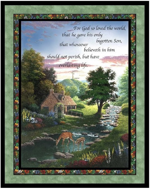 For God So Loved the World Wallhanging 42x35'' Cotton 100%