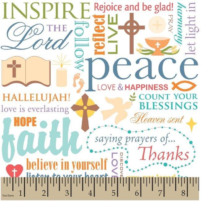 Fabric Cotton Words of Faith on White 44/45'' 100% Cotton