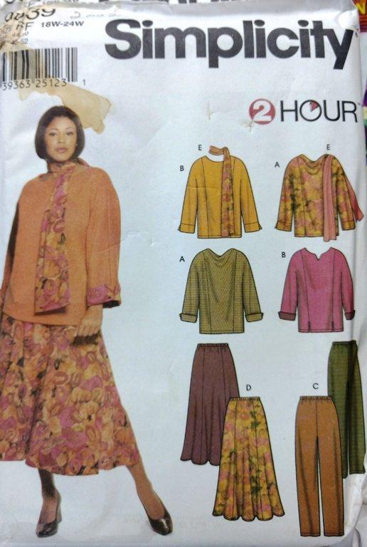 Sewing Pattern Simplicity 9839 2 Hour Pattern. Size FF 18W-24w Plus Size