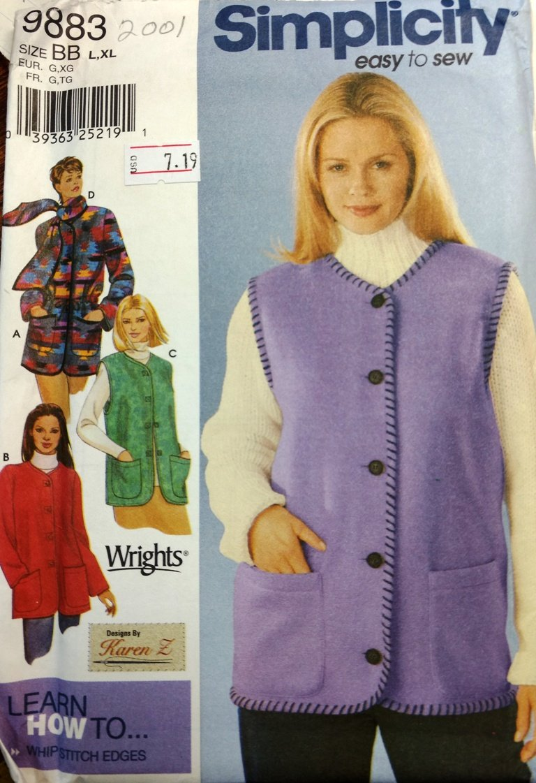Sewing Pattern Simplicity 9883 Womens Coat and Vest in Size BB LG-XL Plus Size