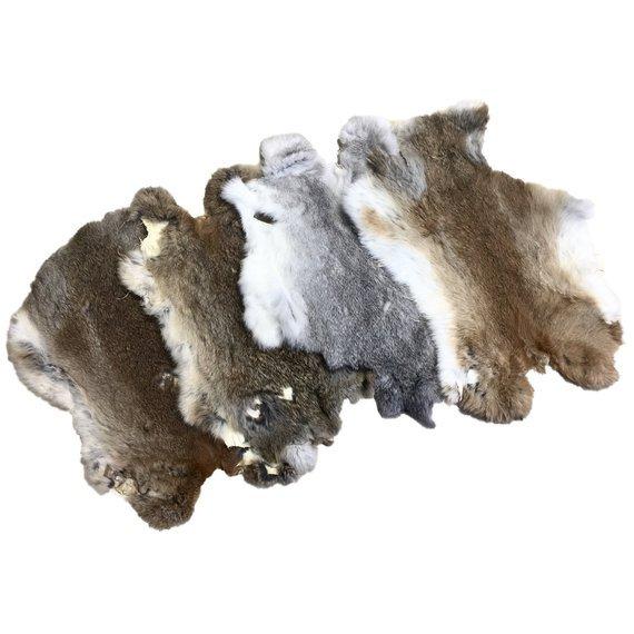 Genuine Natural Rabbit Skin Pelt Fur On Hides Craft Grade Assorted Natural Color