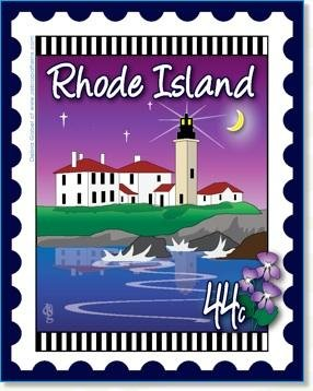 Custom State Stamp Collector Rhode Island 6 x 7