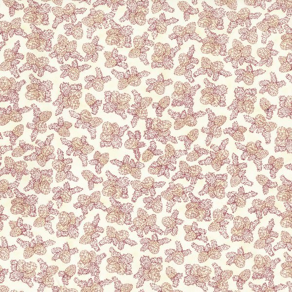 Holiday Accents Classics RJR 2016 Cream/White Reddish Pine Cones Fabric By The Yard