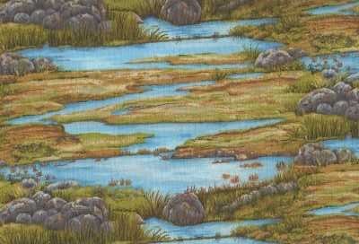 Troy Riverwoods Running Wild Watery Meadows 100% cotton