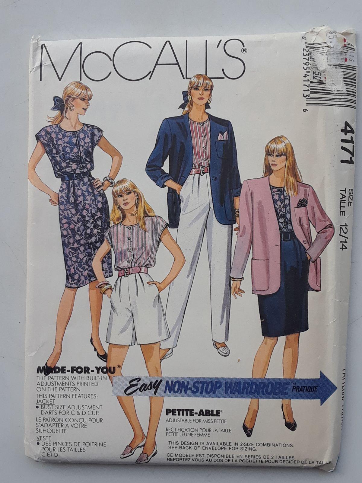 VINTAGE 1989 McCall's Misses' Jacket Top Skirt Pants & Shorts Pattern 4171 Size (1820) Oversized Blazer