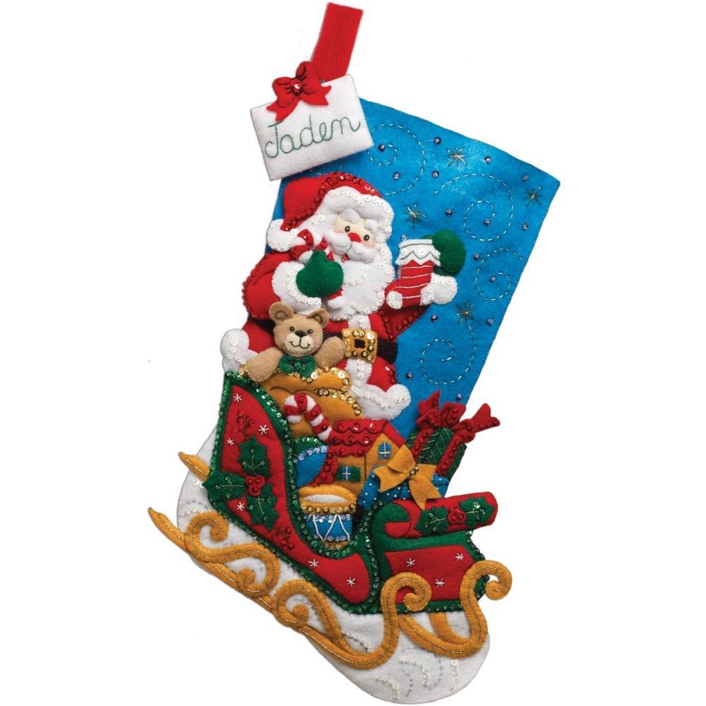 Santa & His Sleigh Stocking Felt Applique Kit