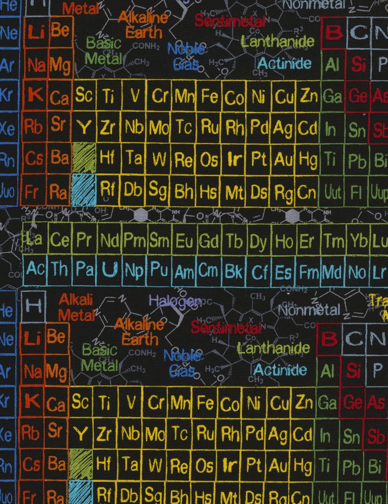 Periodic Table Science-C5708-Charcoal 44/45 100% Cotton Timeless Treasures