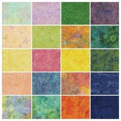 Fabric Cotton Precuts Island Batik Stamps (5 inch Squares) Seashore 42 pieces