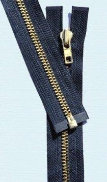 YKK Loose Package Brass #5 Separating Metal Zipper 25 Navy
