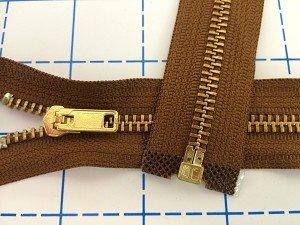 YKK Loose Package Brass #5 Separating Metal Zipper 22 Brown
