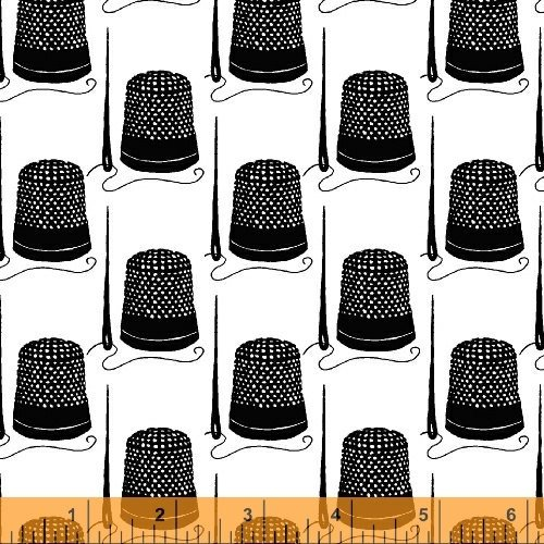 Remnant 33 x WOF Windham Snippits Black Thimbles on White by Sarah Fielke