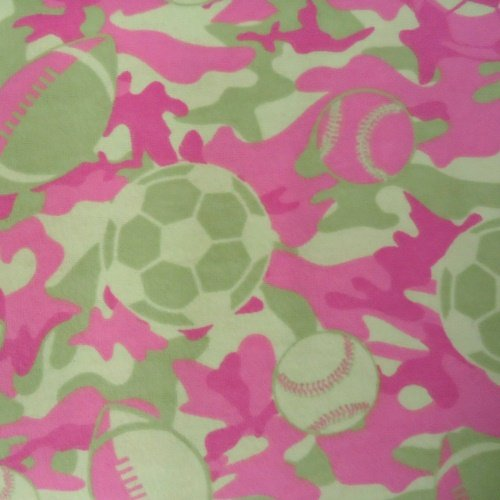 Fabric Cotton Sports Camo Pink Flannel 100% 44/45 inch wide