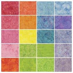 Fabric Cotton  Precuts Island Batik Stamps (5 inch Squares) Spring Zing 42 pieces