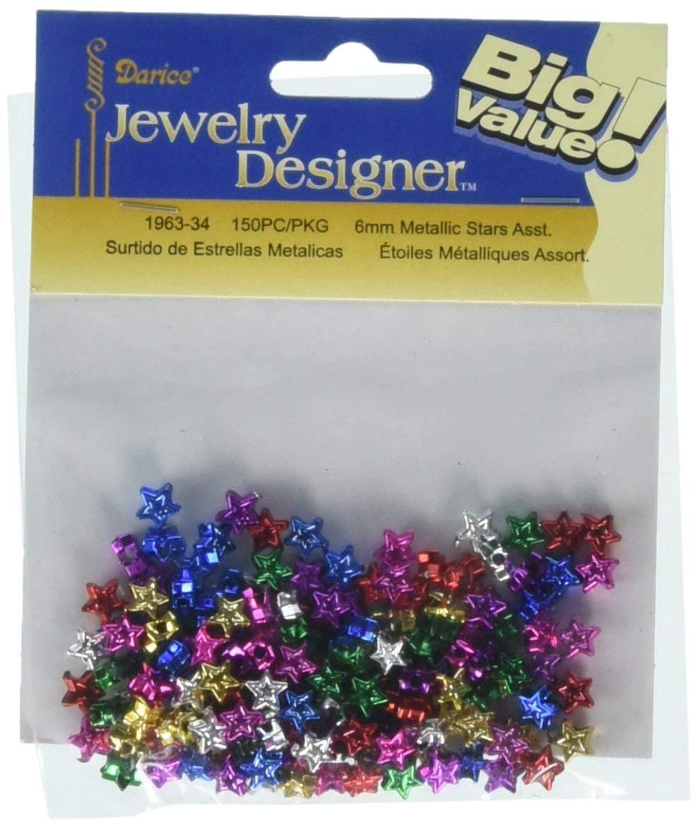Crafts Jewelry Designer 1963-34 Metallic Stars Assorted 6Mm 150Pc