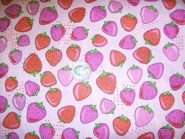 Tutti Frutti Strawberries on Pink by Choice Fabrics