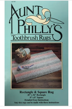 Pattern Aunt Philly's Toothbrush Rugs Rectangle 20 x 36 or Square 8 x8 Includes Needle & Toothbrush Tool
