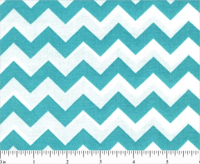 Fabric Remnant 26 WOF  Chevron One half 1/2 inch Color Turquoise White 44/45'' 100% Cotton