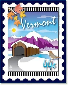 Custom State Stamp Collector Vermont 6 x 7